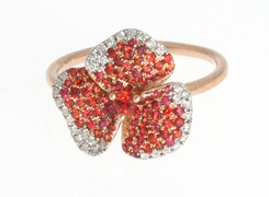 Red Pave Flower Ring