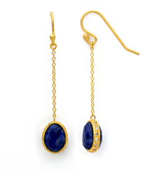 Gold Drop Linear Lapis Earrings