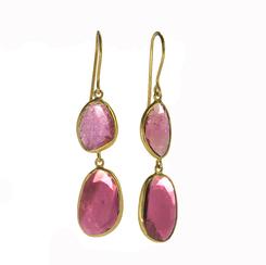 Double Drop Pink Tourmaline Earrings
