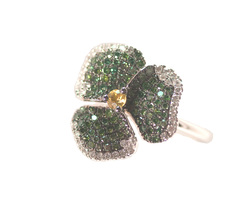 Green Pave Flower Ring